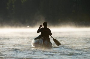 Justin paddling